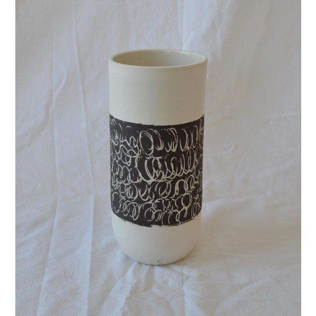 2010s Contemporary Ceramic Scribble Stripe Cylindrical Vase For Sale - Image 5 of 5