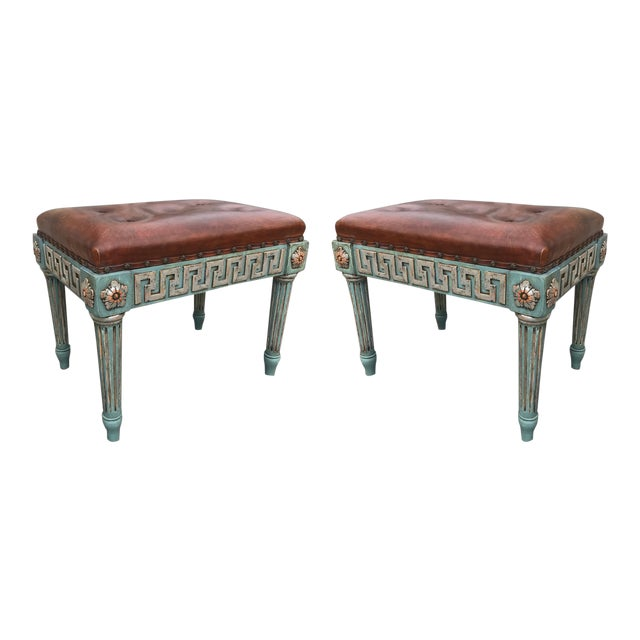 Pair of Neoclassical Painted Stools With Greek Key For Sale