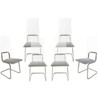 Gary Gutterman, Set of Six Chairs in Plexiglass and Grey Velvet For Sale