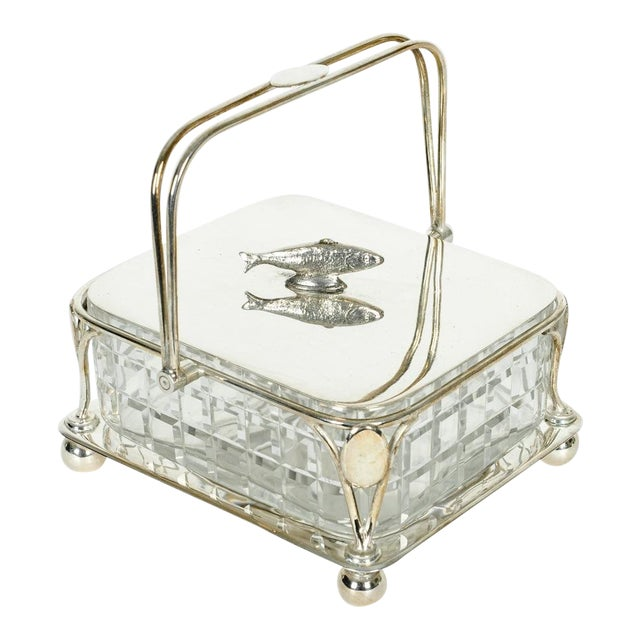 Old English Silver Plated Holder/ Cut Crystal Caviar Dish For Sale