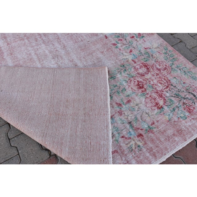 Antique Handmade Faded Area Rug - 5′8″ × 8′7″ For Sale - Image 9 of 9