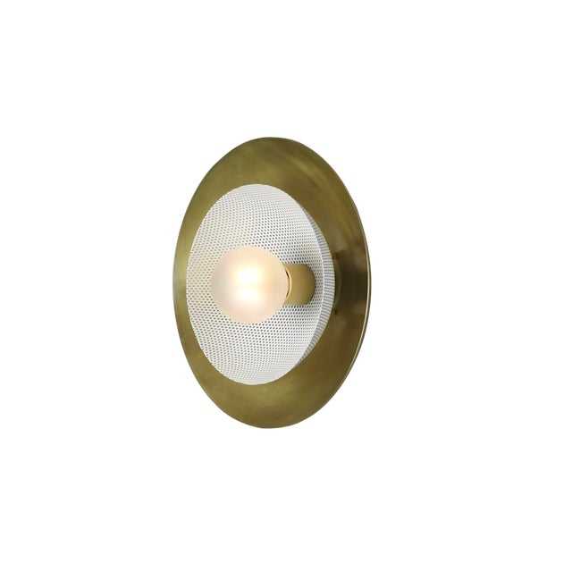Centric Wall Sconce in Solid Brass and Cream Enamel Mesh Blueprint Lighting 2019 For Sale
