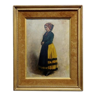 Leon Bonnet -19th Century Portrait of an Italian Woman-Oil Painting 1871 For Sale