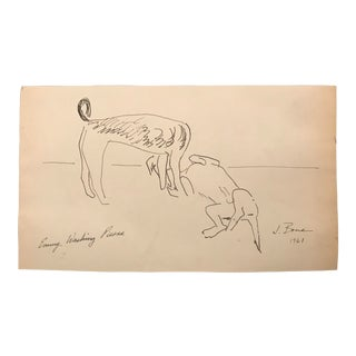 1961 Emmy Washing Pierre Dogs Drawing For Sale