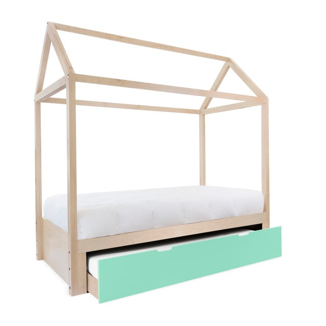Contemporary Domo Zen Twin Trundle Canopy Bed in Maple With Mint Finish For Sale - Image 3 of 3