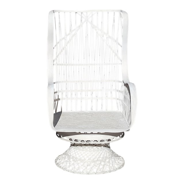 Russell Woodard Fiberglass Spun Swivel Rocking Chair For Sale