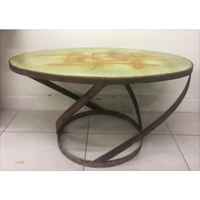 1950s Vintage Abbaye Du Bec Abstract Tile Table From For Sale - Image 9 of 9