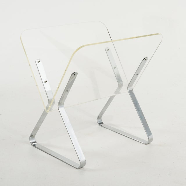 1970s Milo Baughman Style Lucite and Chrome Magazine Stand For Sale - Image 4 of 9
