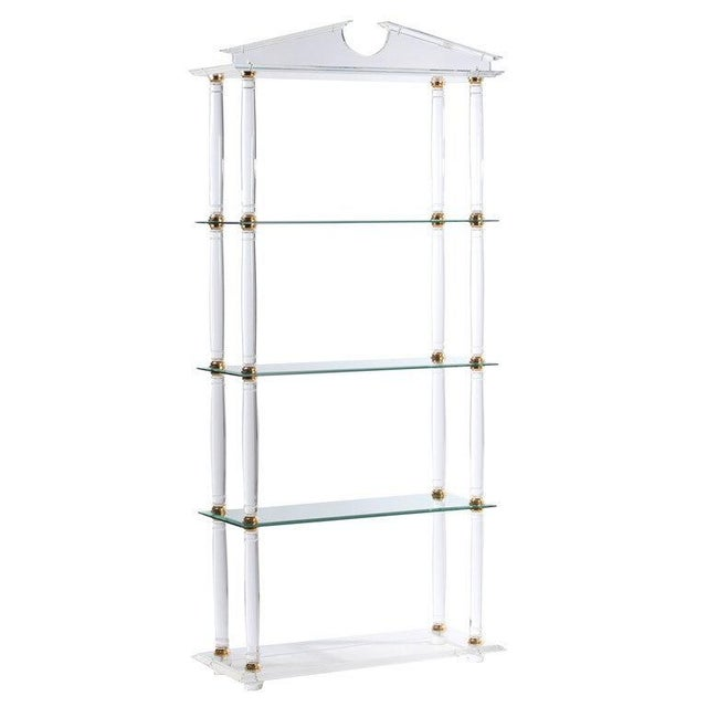 Transparent Neoclassic Modern Lucite and Brass Etagere For Sale - Image 8 of 8