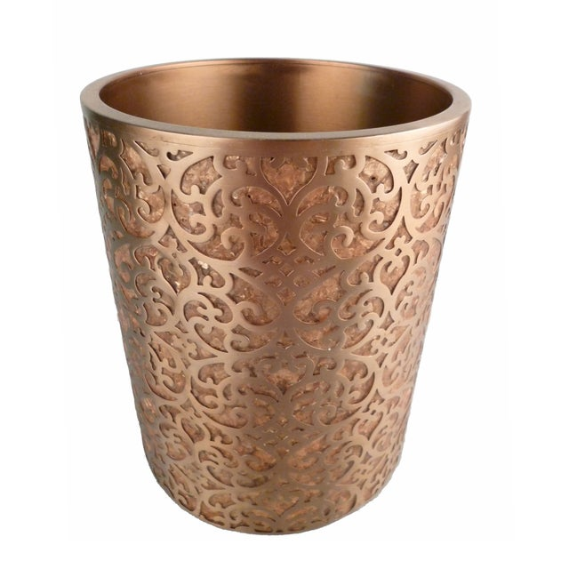 Decorative Capiz Shell & Metal Wastebasket - Image 9 of 9