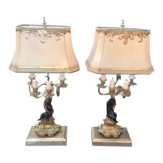 Vintage French White Metal Putti Figures Mounted as Lamps - a Pair For Sale