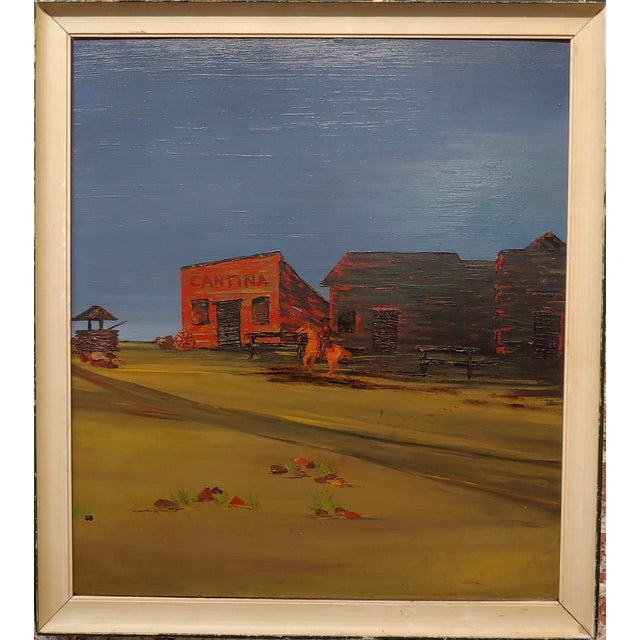 """John Lewis Egenstafer - Wild West Town - Oil painting Expressionist oil painting on board circa 1970s frame size 24 x 27""""..."""