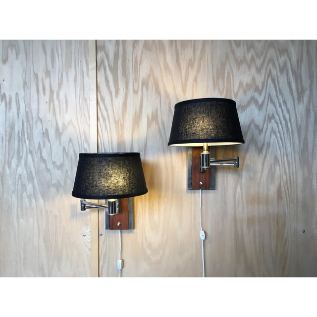 Chrome Mid-Century Modern Walnut and Chrome Articulated Sconces - a Pair For Sale - Image 7 of 13