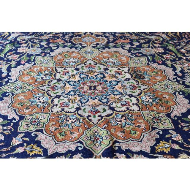 Vintage Signed Persian Tabriz Wool & Silk Rug - 6′5″ × 9′7″ For Sale - Image 4 of 11