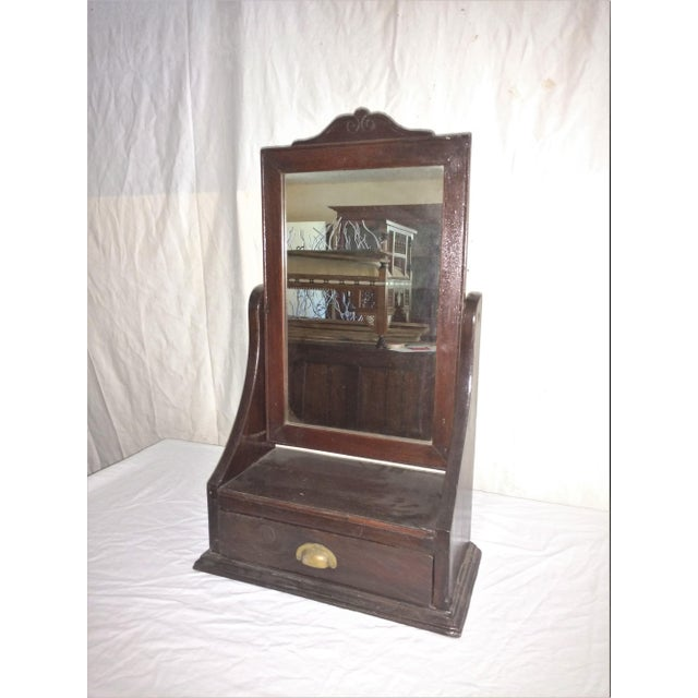 Antique Rosewood Shaving Mirror. British Colonial Plantation Piece from Sri Lanka. Hand Carved and crafted. Gorgeous...