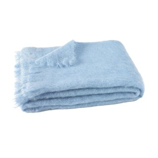 Sky Brushed Mohair Throw For Sale