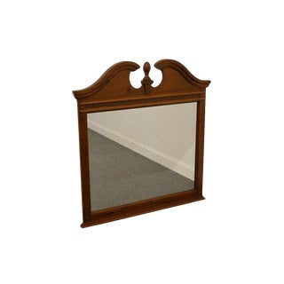 Late 20th Century Vintage Stanley Furniture Cherry Pediment Top Dresser / Wall Mirror For Sale