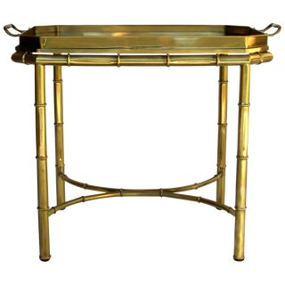 Mastercraft Bamboo Tray Table in Antique Brass, Usa, 1960s-1970s For Sale