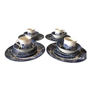 Blue & White Churchill Mugs & Plates - Set of 4 For Sale