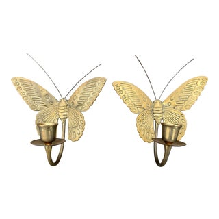 1970s Butterfly Brass Candle Sconces - a Pair For Sale