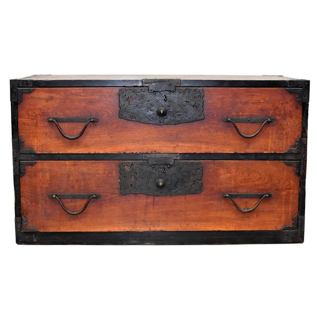Vintage Japanese Low Tansu Chest with Bamboo Crane Hardware For Sale - Image 13 of 13