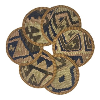 Rug & Relic Kilim Coasters Set of 6 | Berrak For Sale