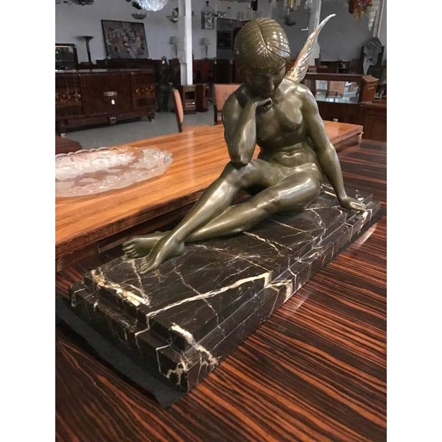 Signed French Art Deco Bronze Sculpture of Nude Seated Female For Sale - Image 4 of 10