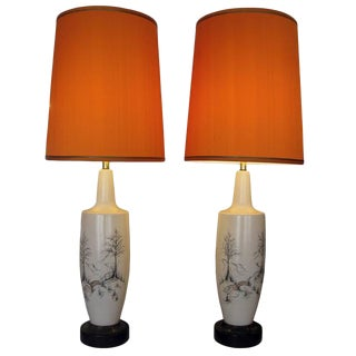 Mid Century Asian Modern Table Lamps - a Pair For Sale