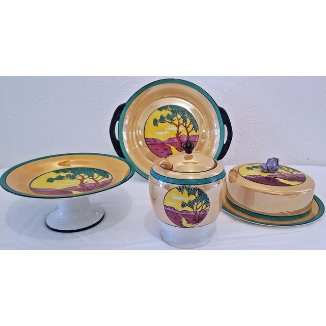 PRESENTING a LOVELY early 20th Century, ART DECO period Noritake Lustreware 4 Piece High Tea Set in CLASSIC Deco style....