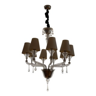 Vintage Barovier and Toso Crystal, Lucite, Glass Chandelier For Sale