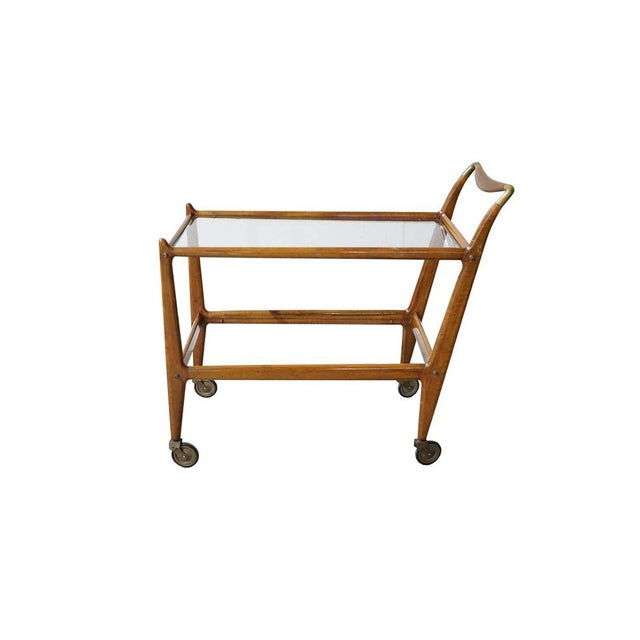 Wood Mid-Century Wooden Bar Cart With Glass Shelves For Sale - Image 7 of 7