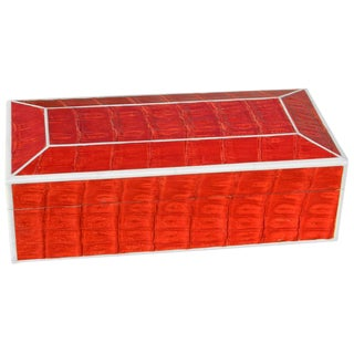 Bone Inlay Red Crocodile Box