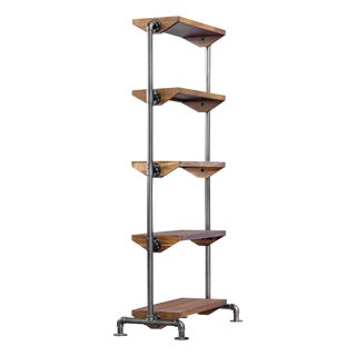 Industrial Metal Pipe Bookshelf For Sale