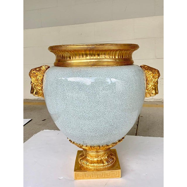 Gold Chinese Crackle Glaze and Ormolu Lion Motif Urn For Sale - Image 8 of 9