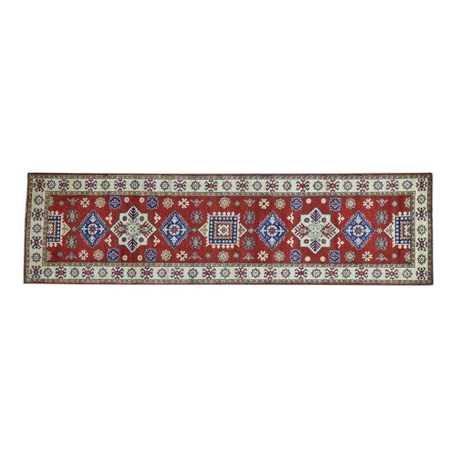 Wool Handmade Tribal Design Kazak Runner- 2′8″ × 9′9″ For Sale