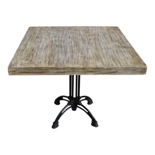 1920s French Country Cast Iron Base Walnut Top Dining/Bistro Table For Sale