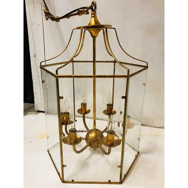 Gilt Metal Lantern Chandelier For Sale In Atlanta - Image 6 of 7