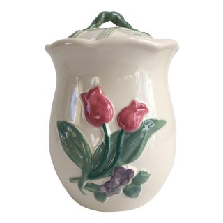 Vintage Pink Tulip Lidded Cookie Jar
