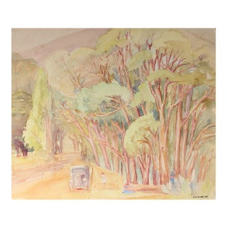 California Landscape With Eucalyptus, Watercolor Painting, Mid 20th Century For Sale