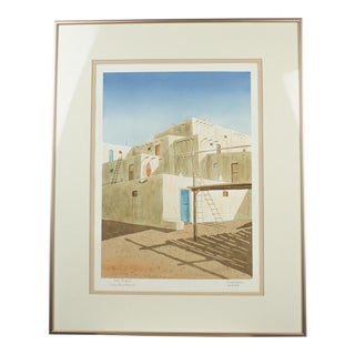 Taos Pueblo Watercolor Framed Art by Alexander Daube For Sale