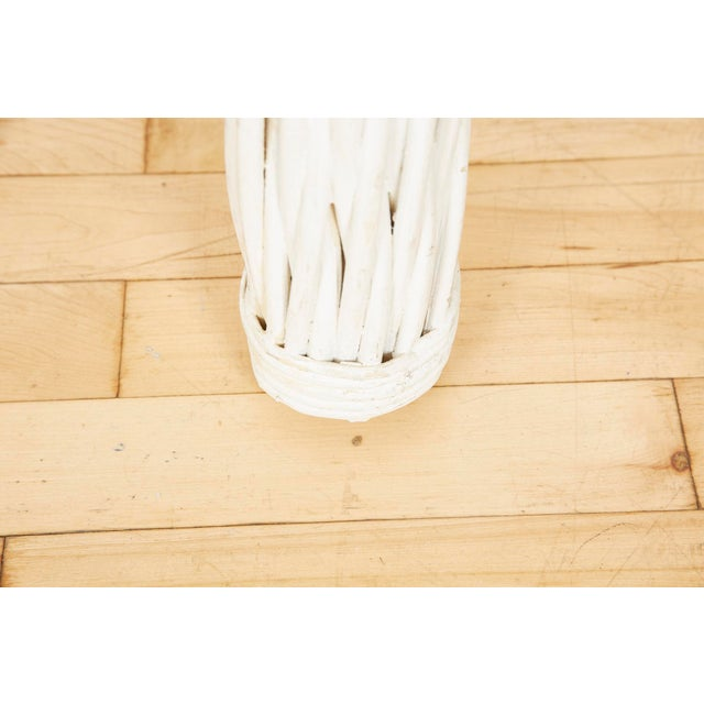White Vintage Thick White Wicker Console Table, 1980s For Sale - Image 8 of 13