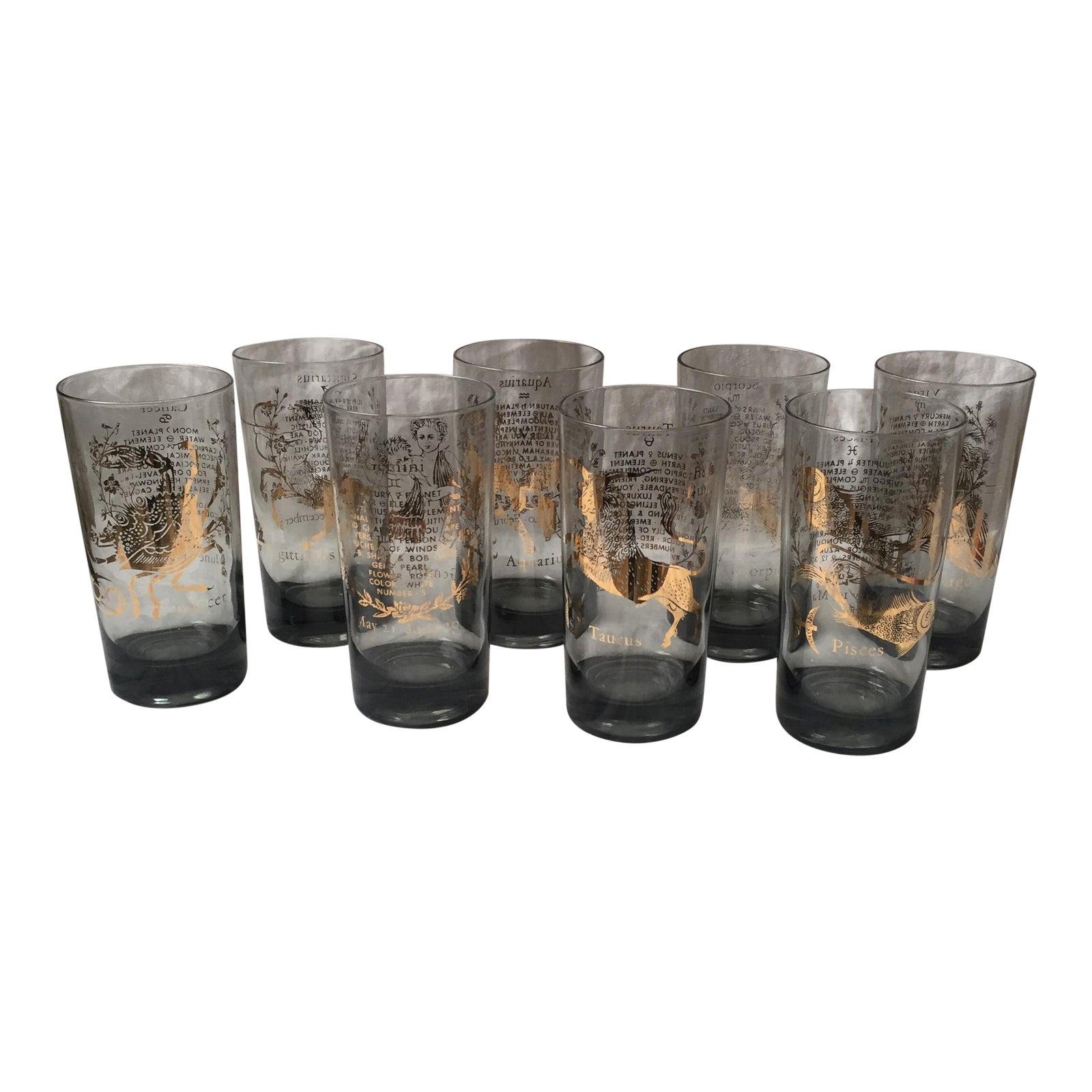 Vintage Zodiac Highball Glasses - Set of 8 | Chairish