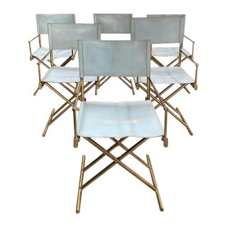 Set of 6 Director's Chair in Brass and White Leather, Italy, 1970s For Sale