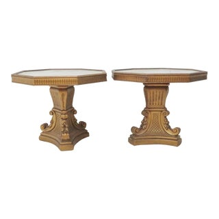 Hollywood Regency Gold Side Tables - A Pair For Sale
