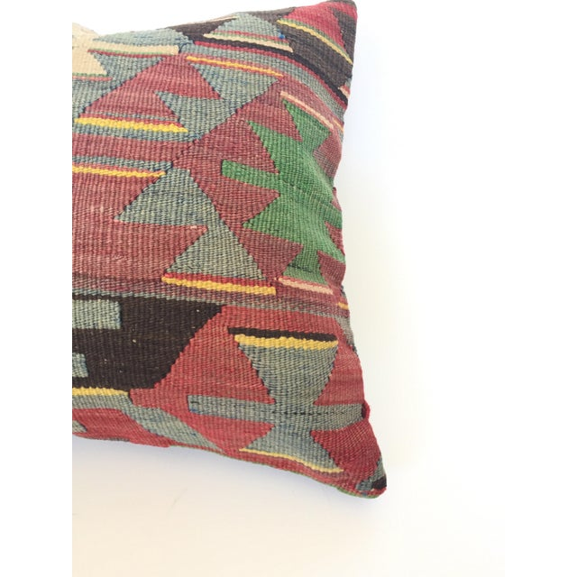Vintage Turkish Kilim Square Pillow Cover For Sale - Image 4 of 5