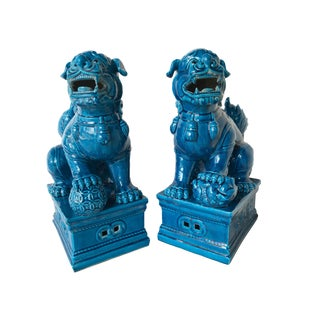 "Large Turquoise Foo Dogs - a Pair 13.5"" H For Sale"