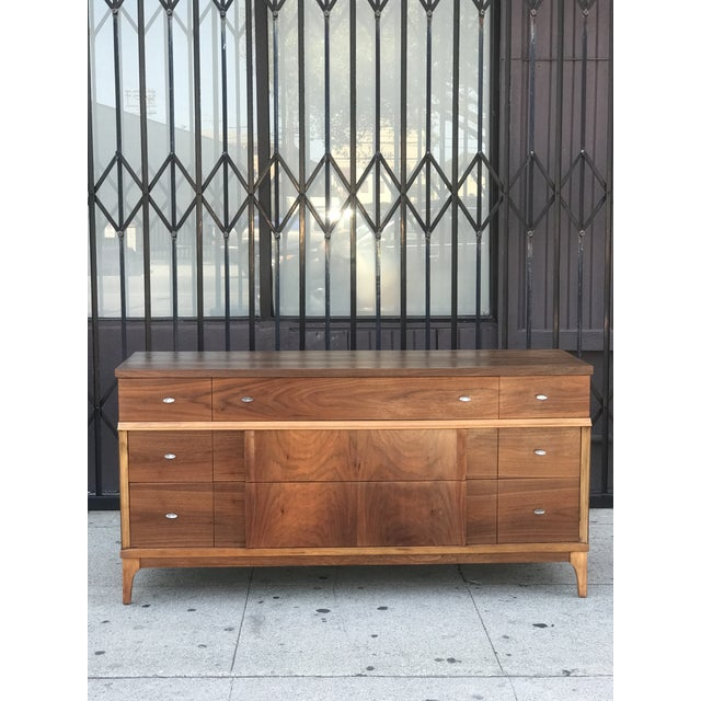 Mid Century Credenza With Metal Pulls For Sale - Image 11 of 11