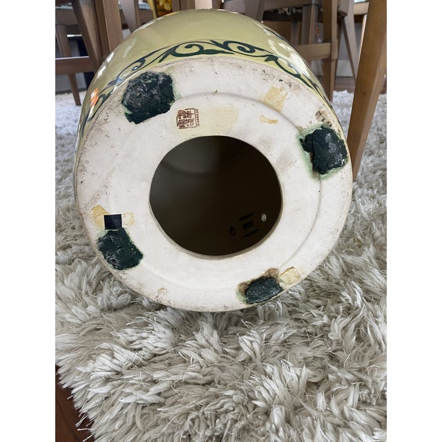 Paint Vintage Yellow Hand Painted Glazed Garden Stool For Sale - Image 7 of 8