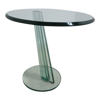 Vintage Cantilever Designer Glass Side Table