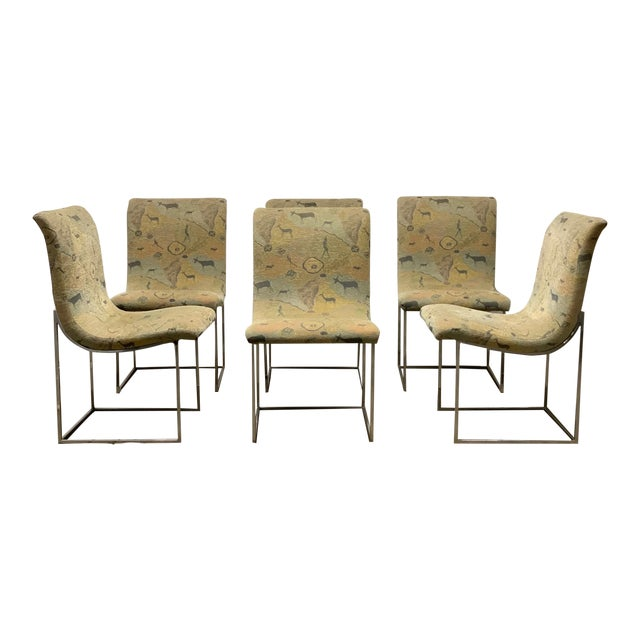 Set of Six Milo Baughman Scoop Chrome Dining Chairs For Sale